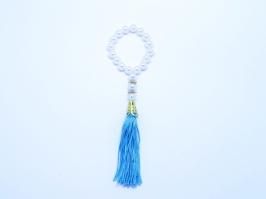 Pingente com Franja Azul e Detalhes Dourado