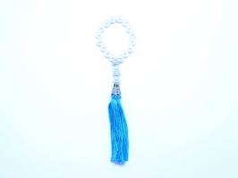 Pingente com Franja Azul e Detalhes Prata