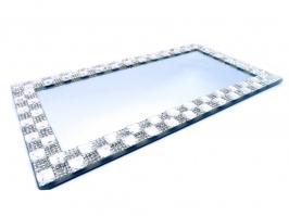 Bandeja de Vidro Espelhada Retangular Prata (27x14)