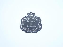Etiqueta Luxo Coroa Difusor de Ambiente Preta com Prata(Unidade)