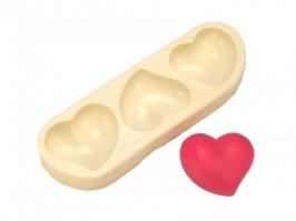 Molde de silicone Coração Torcido 3 cav.