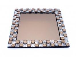 Bandeja de Vidro Espelhada Quadrada Pequena Ouro (16x16)